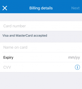 クレジットカード情報を記入
