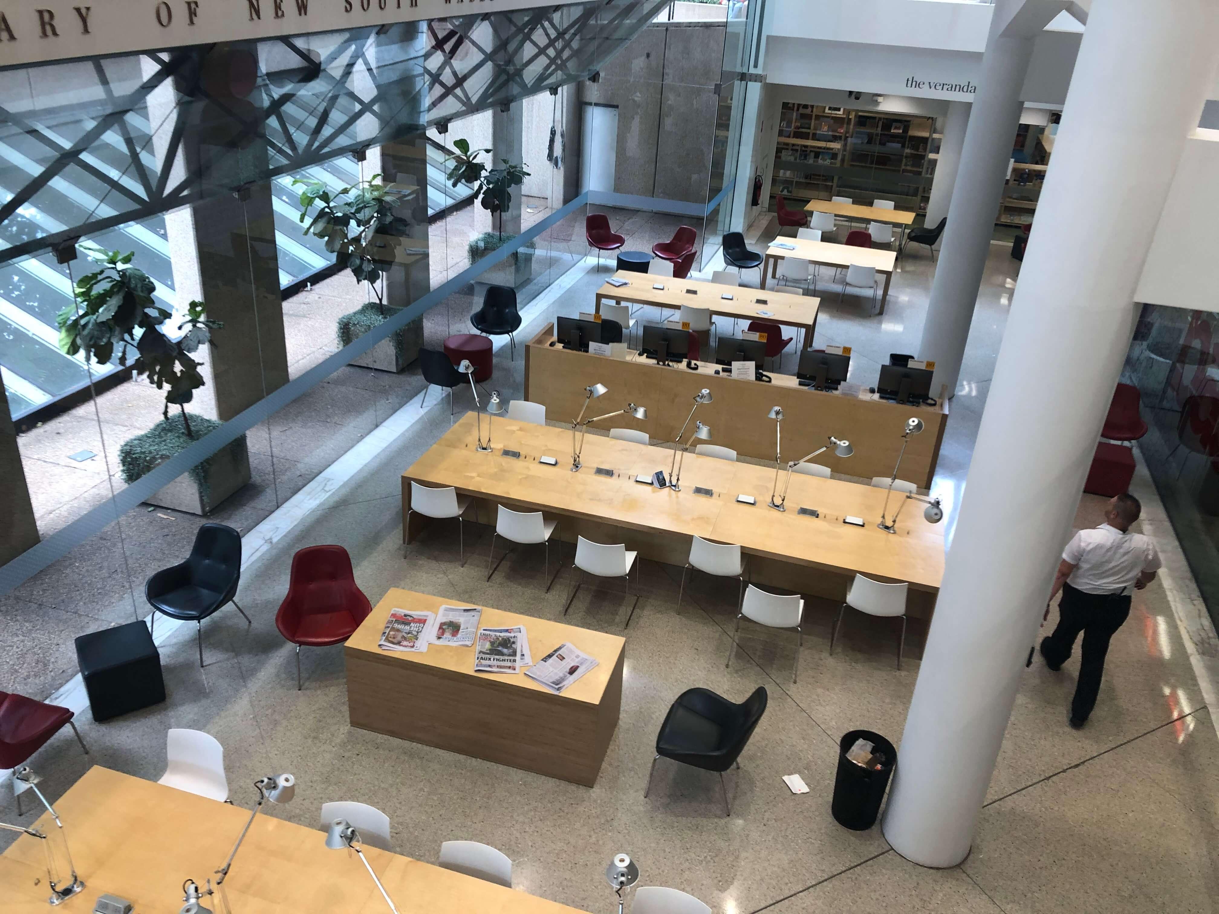 シドニー州立図書館の新館の飲食可能スペース