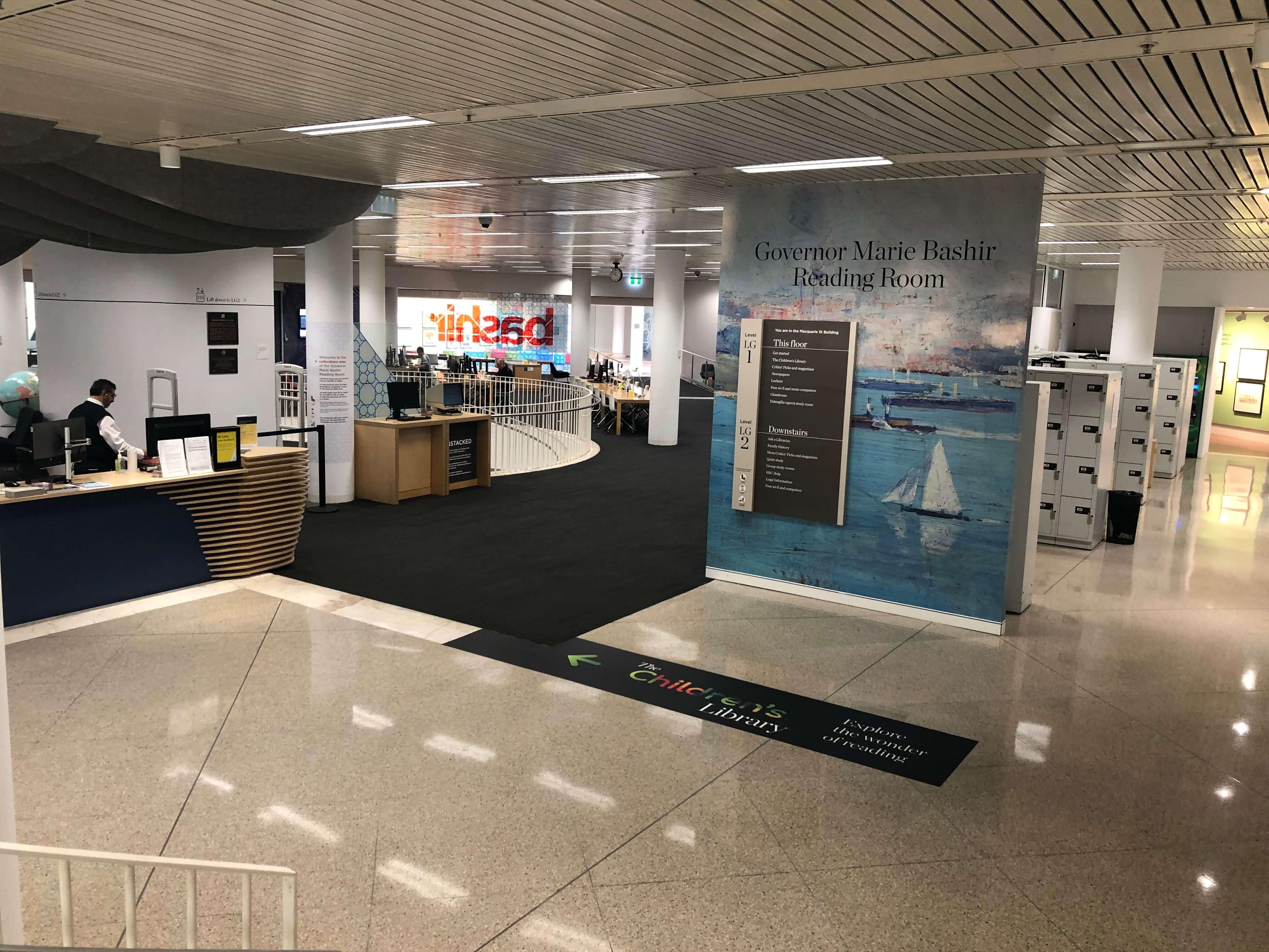 シドニー州立図書館の新館の受付